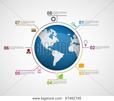 Abstract Global Infographic Design Template.