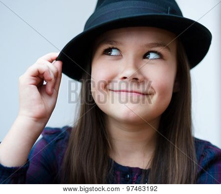 Portrait Girl In A Black Hat