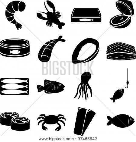 seafood symbols set