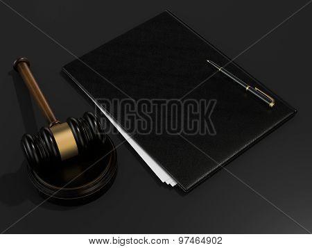 Wooden Judges Gavel And Leather Folder On Black Table
