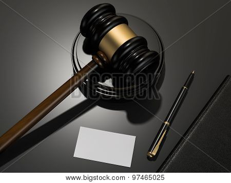 Wooden Judges Gavel, Business Cards On Black Table