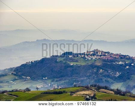 Panoramic View Of Mountains In Republic Of San Marino In Early Morning