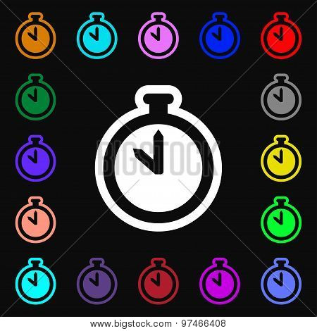 The Stopwatch Icon Sign. Lots Of Colorful Symbols For Your Design. Vector