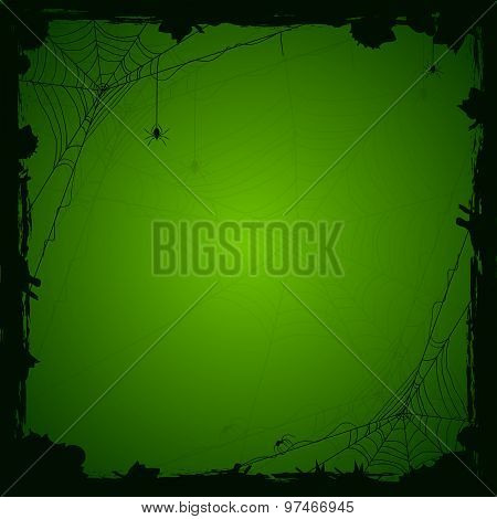 Halloween Green Background With Spiders