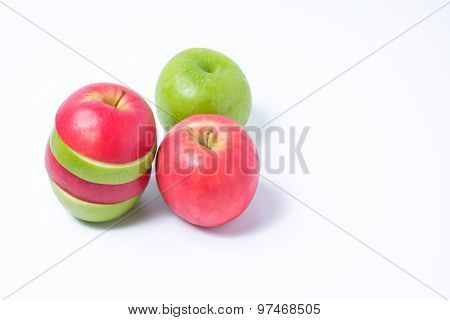 Slice Red And Green Apples