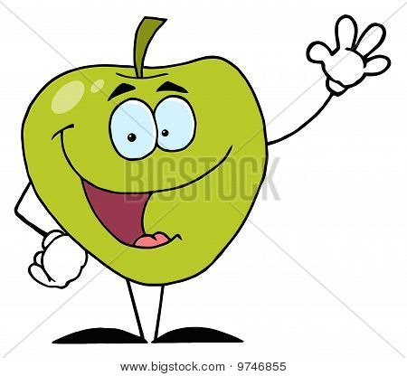 Friendly Green Apple Character Waving
