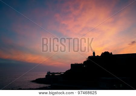 Lighthouse Silhouette Sunset View Beautiful Sky
