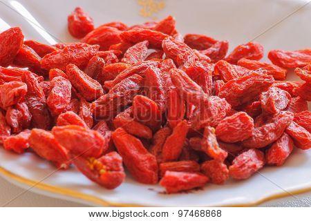 Goji Berries Macro Super Food Concept.