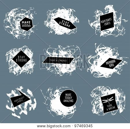 Abstract set of blobs, splash, labels