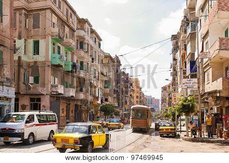 Alexandria, Egypt - September12, 2008. One Of The Streets Of Alexandria Town.