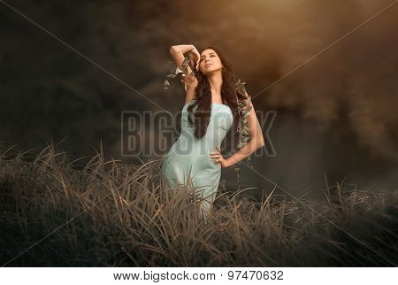 Fantasy fairytale and beautiful woman - wood nymph among tall grass, rays of light.