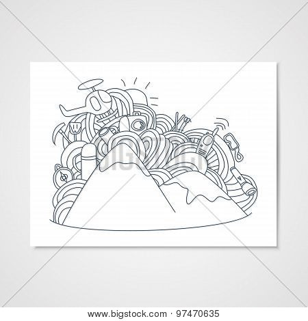 Abstract Doodle Pattern With Objects For Ski Vacation