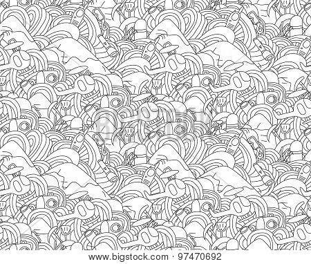 Abstract Doodle Seamless Pattern With Objects For Ski Vacation