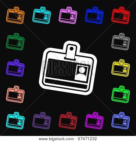 Id Card Icon Sign. Lots Of Colorful Symbols For Your Design. Vector