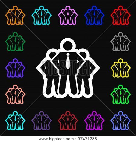 Business Team Icon Sign. Lots Of Colorful Symbols For Your Design. Vector