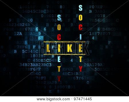 Social media concept: word Like in solving Crossword Puzzle