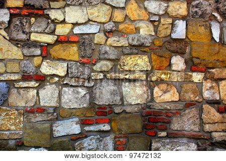 pattern of cracked stone wall surface with cement