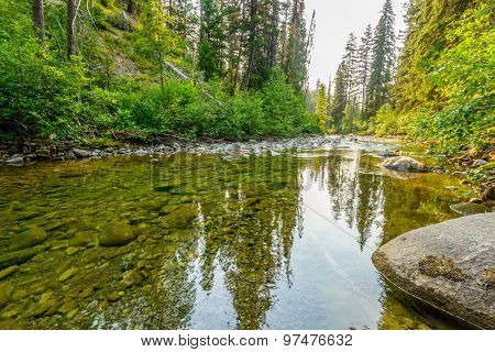 Majestic mountain river in Canada. Manning Park Lightning Lake Trail in British Columbia.