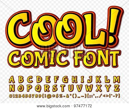 High Detail Yellow Comic Font. Alphabe, Comics, Pop Art.