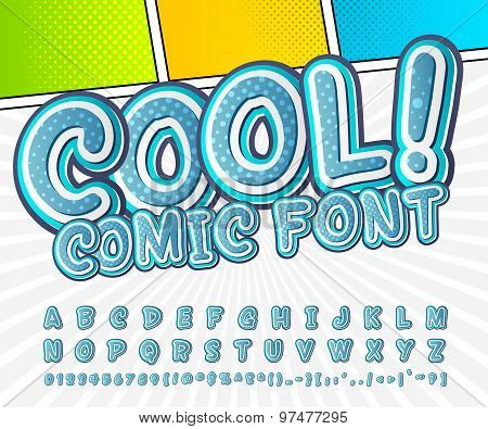 Creative High Detail Blue Comic Font. Alphabet, Comics, Pop Art.