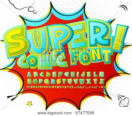 Stylish Comic Font In Yellow, Blue And Green Colors.