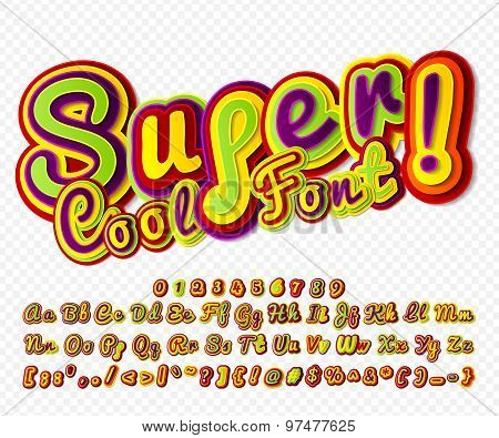 Creative High Detail Colorful Comic Font. Alphabet, Comics, Pop Art.