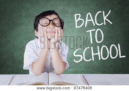 Girl Back To School And Daydream In The Class
