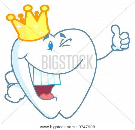 Tooth Character Wearing A Crown