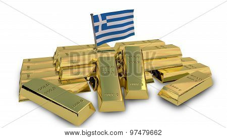 Greek economy concept with gold bullion