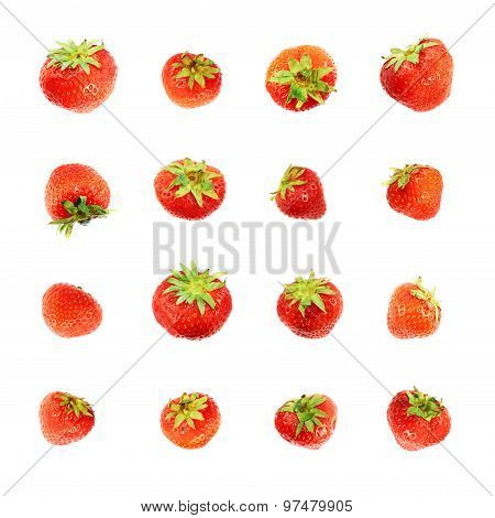 Single red strawberries isolated