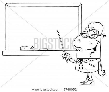 Senior Male School Teacher Pointing Chalk Board