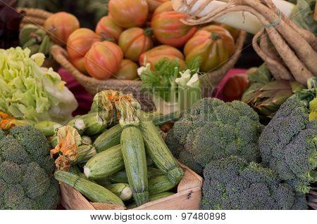 Fresh Vegetables In Italian Market Beautiful Background
