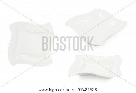 White ceramic plate isolated