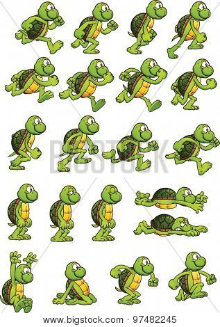Cartoon turtle ready for animation. Vector clip art illustration with simple gradients. Each element on a separate layer.