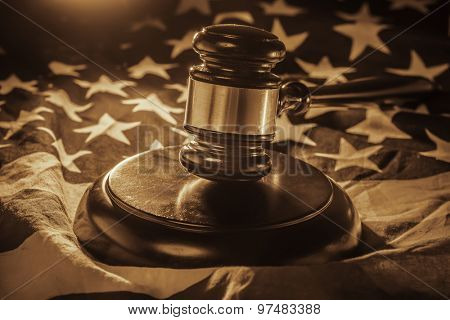 Gavel and wood hammer on US Flag