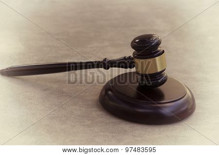 Gavel and wood hammer