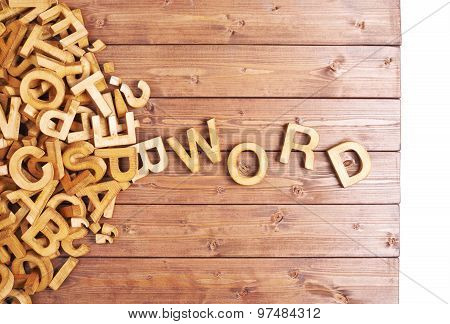 Word word made with wooden letters