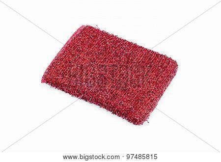 Red Sponge Over White Background.