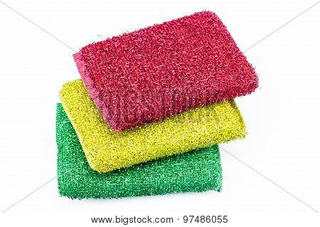 Stack Of Scrubbing Sponges, Washing Sponges Isolated On White