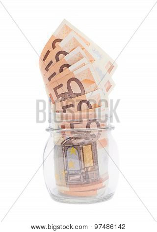 Multiple bank notes in a jar