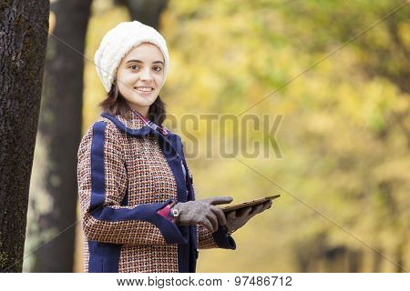 Smiling young woman using digital tablet at the park