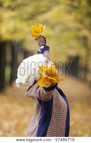 Beautiful woman with open arms holding autumn leaves at the park