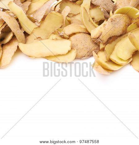 Pile of potato peels isolated