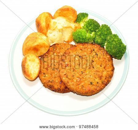 Nut Cutlet And Roast Potato Meal