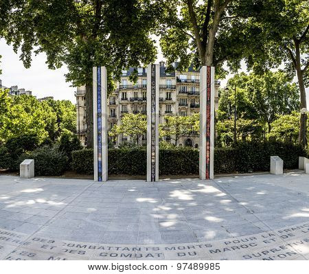 PARIS, FRANCE - JUNE 6, 2015: National War Memorial in Algeria Morocco and Tunisia on the Quai Branly in memory of those killed during the French war in North Africa 1952-1962