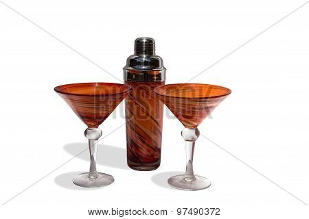Orange martini cocktail blown glasses