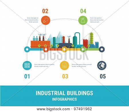 Industrial factory buildings illustration