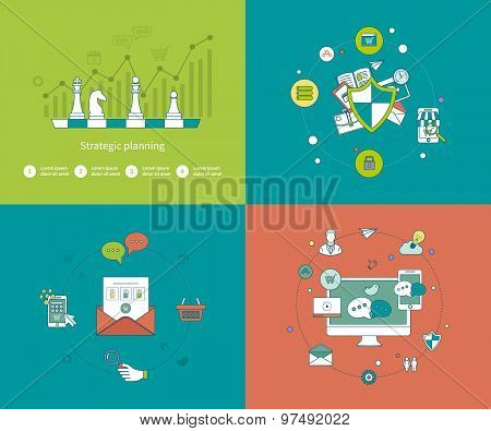 Concepts for strategy planning and successful business, online shopping and mobile marketing, data p