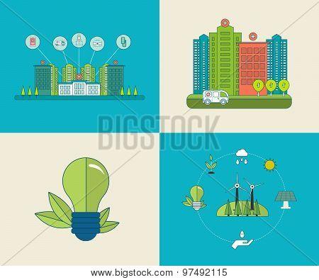 Flat design modern vector illustration concept for healthcare, medical center and hospital building,