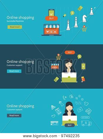Set of flat design vector illustration concepts for customer support, online shopping and mobile mar